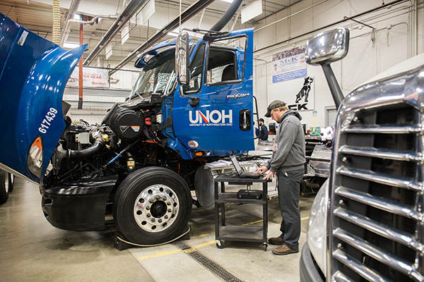 Student working on a diesel truck at UNOH